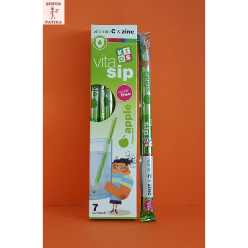 Vitasip Kids C-vitamin+cink zöldalma ízesítésű szívószál 7db