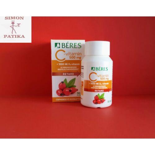 Béres C-vitamin 500mg+ 1000NE D3-vitamin retard filmtabletta  90db