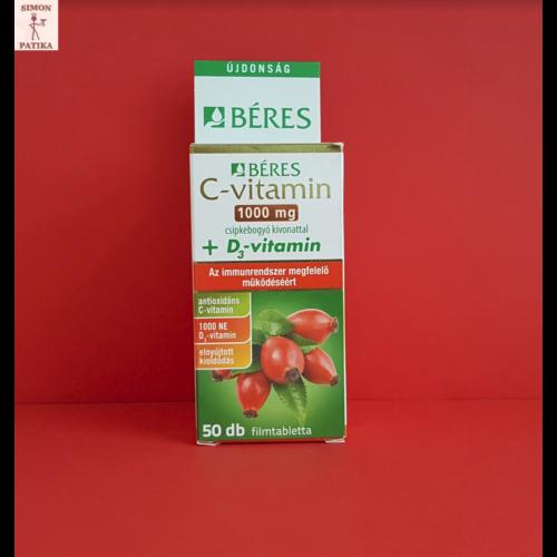 Béres C-vitamin 1000mg+ D3 retard filmtabletta 50db