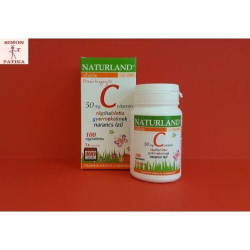 Naturland C vitamin  50 mg rágótabletta gyermek 100db