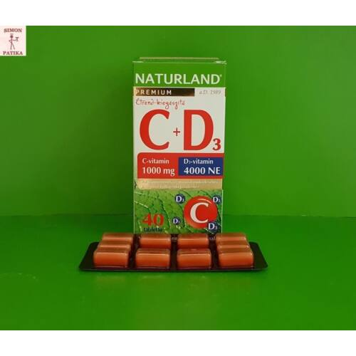 Naturland C 1000mg+D3 4000 NE vitamin tabletta 40db