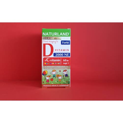 Naturland D3 Forte+C-vitamin rágótabletta gyermek
