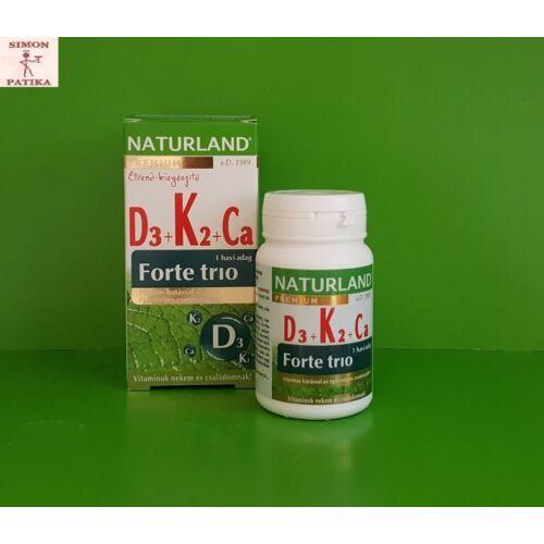 Naturland D3+K2+Ca forte trio tabletta 30db