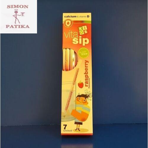 Vitasip Kids Calcium +D vitamin Málna ízesítésű szívószál 7db